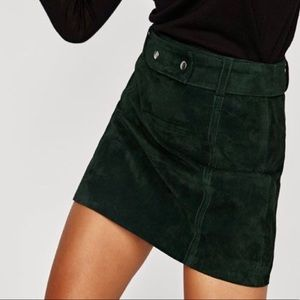 Zara Green Suede Mini Skirt - S
